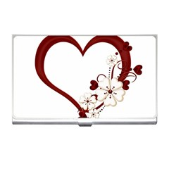 Red Love Heart With Flowers Romantic Valentine Birthday Business Card Holder