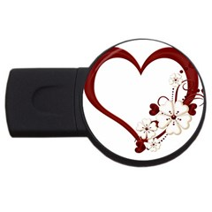 Red Love Heart With Flowers Romantic Valentine Birthday 1GB USB Flash Drive (Round)