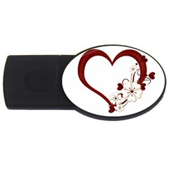 Red Love Heart With Flowers Romantic Valentine Birthday 1GB USB Flash Drive (Oval)
