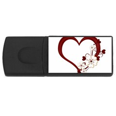 Red Love Heart With Flowers Romantic Valentine Birthday 1GB USB Flash Drive (Rectangle)