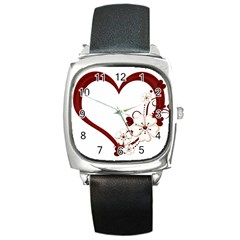 Red Love Heart With Flowers Romantic Valentine Birthday Square Leather Watch