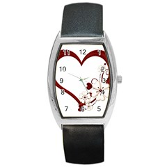Red Love Heart With Flowers Romantic Valentine Birthday Tonneau Leather Watch