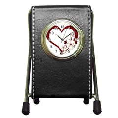Red Love Heart With Flowers Romantic Valentine Birthday Stationery Holder Clock