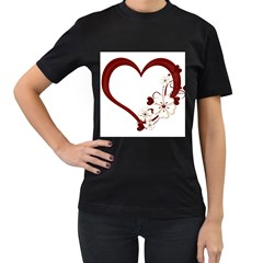 Red Love Heart With Flowers Romantic Valentine Birthday Women s Two Sided T-shirt (Black)
