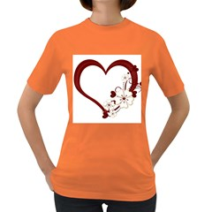 Red Love Heart With Flowers Romantic Valentine Birthday Women s T-shirt (Colored)