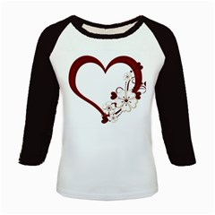 Red Love Heart With Flowers Romantic Valentine Birthday Kids Long Cap Sleeve T-Shirt