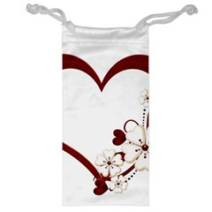 Red Love Heart With Flowers Romantic Valentine Birthday Jewelry Bag
