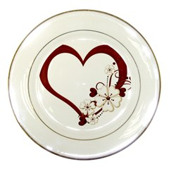 Red Love Heart With Flowers Romantic Valentine Birthday Porcelain Display Plate