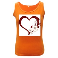 Red Love Heart With Flowers Romantic Valentine Birthday Women s Tank Top (Dark Colored)
