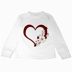 Red Love Heart With Flowers Romantic Valentine Birthday Kids Long Sleeve T-Shirt