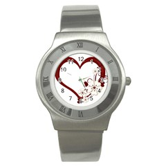 Red Love Heart With Flowers Romantic Valentine Birthday Stainless Steel Watch (Slim)