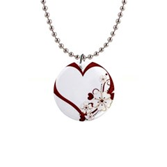 Red Love Heart With Flowers Romantic Valentine Birthday Button Necklace