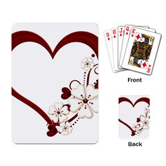 Red Love Heart With Flowers Romantic Valentine Birthday Playing Cards Single Design