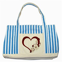Red Love Heart With Flowers Romantic Valentine Birthday Blue Striped Tote Bag