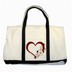 Red Love Heart With Flowers Romantic Valentine Birthday Two Toned Tote Bag