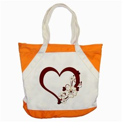 Red Love Heart With Flowers Romantic Valentine Birthday Accent Tote Bag