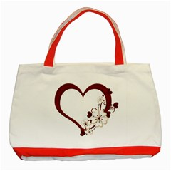 Red Love Heart With Flowers Romantic Valentine Birthday Classic Tote Bag (red)