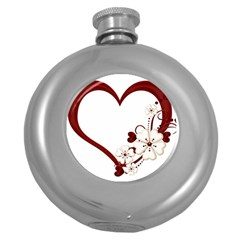 Red Love Heart With Flowers Romantic Valentine Birthday Hip Flask (Round)