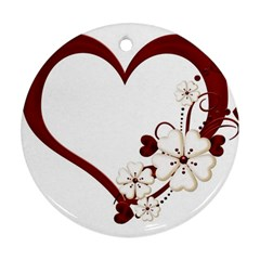 Red Love Heart With Flowers Romantic Valentine Birthday Round Ornament (Two Sides)