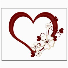 Red Love Heart With Flowers Romantic Valentine Birthday Canvas 8  x 10  (Unframed)