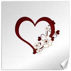 Red Love Heart With Flowers Romantic Valentine Birthday Canvas 16  X 16  (unframed)