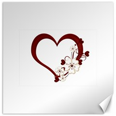 Red Love Heart With Flowers Romantic Valentine Birthday Canvas 20  x 20  (Unframed)