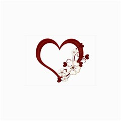Red Love Heart With Flowers Romantic Valentine Birthday Canvas 18  x 24  (Unframed)