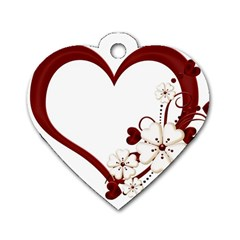 Red Love Heart With Flowers Romantic Valentine Birthday Dog Tag Heart (Two Sided)