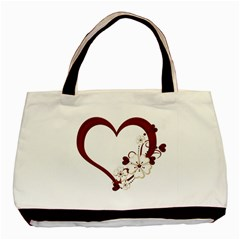 Red Love Heart With Flowers Romantic Valentine Birthday Twin-sided Black Tote Bag