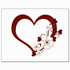 Red Love Heart With Flowers Romantic Valentine Birthday Canvas 11  x 14  (Unframed)