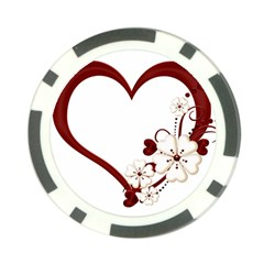 Red Love Heart With Flowers Romantic Valentine Birthday Poker Chip