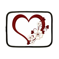 Red Love Heart With Flowers Romantic Valentine Birthday Netbook Sleeve (small)