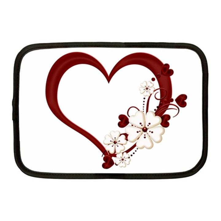 Red Love Heart With Flowers Romantic Valentine Birthday Netbook Sleeve (Medium)