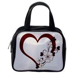 Red Love Heart With Flowers Romantic Valentine Birthday Classic Handbag (One Side)