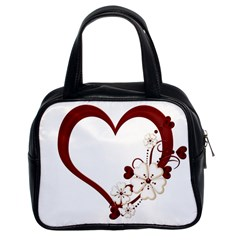Red Love Heart With Flowers Romantic Valentine Birthday Classic Handbag (Two Sides)