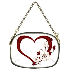 Red Love Heart With Flowers Romantic Valentine Birthday Chain Purse (One Side)