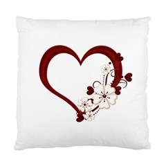 Red Love Heart With Flowers Romantic Valentine Birthday Cushion Case (Two Sided)
