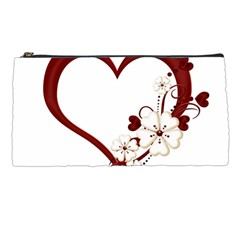 Red Love Heart With Flowers Romantic Valentine Birthday Pencil Case