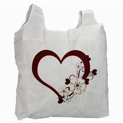 Red Love Heart With Flowers Romantic Valentine Birthday Recycle Bag (One Side)