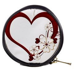 Red Love Heart With Flowers Romantic Valentine Birthday Mini Makeup Case