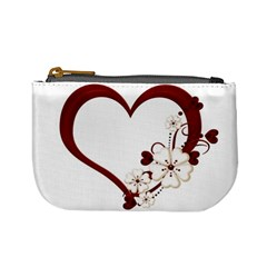 Red Love Heart With Flowers Romantic Valentine Birthday Coin Change Purse