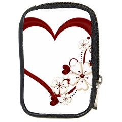 Red Love Heart With Flowers Romantic Valentine Birthday Compact Camera Leather Case