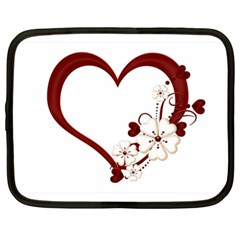 Red Love Heart With Flowers Romantic Valentine Birthday Netbook Sleeve (XL)