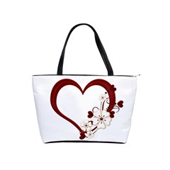 Red Love Heart With Flowers Romantic Valentine Birthday Large Shoulder Bag