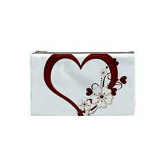Red Love Heart With Flowers Romantic Valentine Birthday Cosmetic Bag (small)