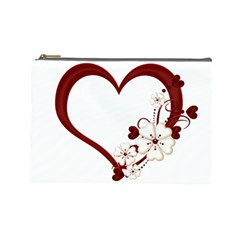 Red Love Heart With Flowers Romantic Valentine Birthday Cosmetic Bag (large)