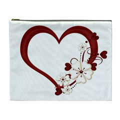 Red Love Heart With Flowers Romantic Valentine Birthday Cosmetic Bag (XL)