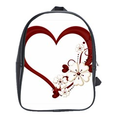 Red Love Heart With Flowers Romantic Valentine Birthday School Bag (Large)