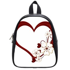 Red Love Heart With Flowers Romantic Valentine Birthday School Bag (small)