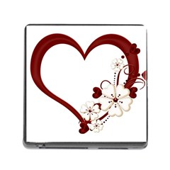 Red Love Heart With Flowers Romantic Valentine Birthday Memory Card Reader with Storage (Square)